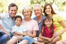 Extended Group Portrait Of Family Enjoying Day In Park
